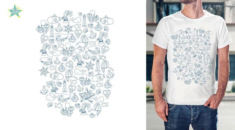 exit festival t shirt design sea star symbols