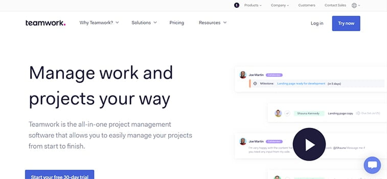 teamwork project management system website screenshot
