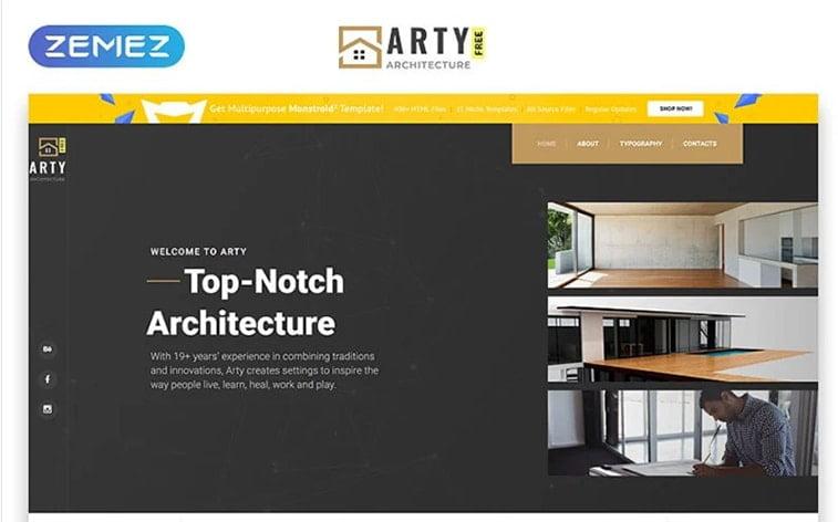 best free botstrap theme template website arhitecture design construction studio