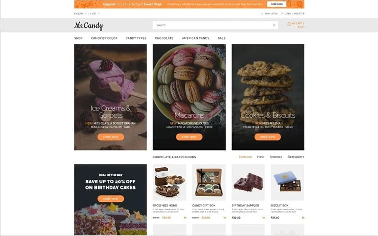 best free botstrap theme template beauty website sweets bakery candy store