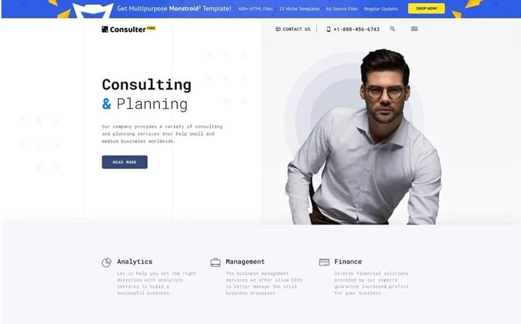 best free botstrap theme template website business website consulting startup