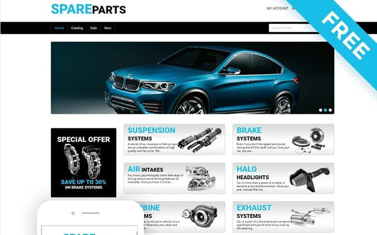 best free botstrap theme template website car spare parts automobile accessories