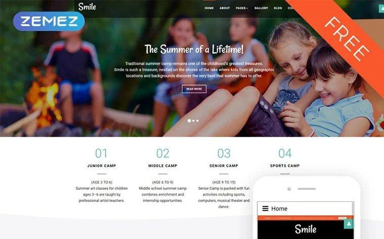 best free botstrap theme template website children camping summer camp activities