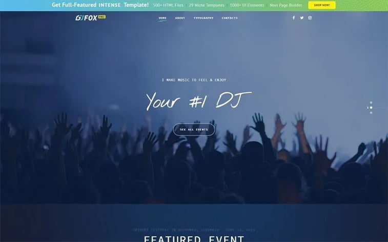 best free botstrap theme template website dj event music singer band