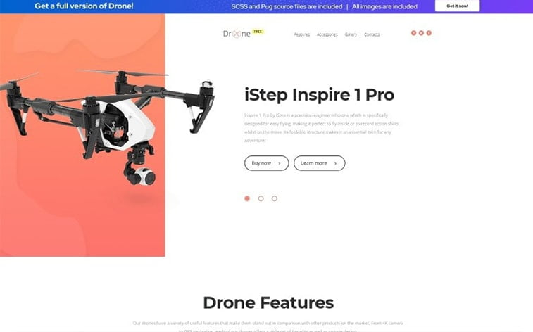 best free botstrap theme template website drone photography video technology