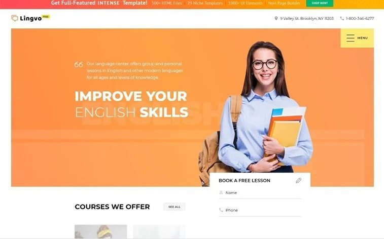best free botstrap theme template website elearning online school language learning