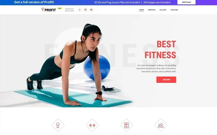best free botstrap theme template website coach fitness gym training