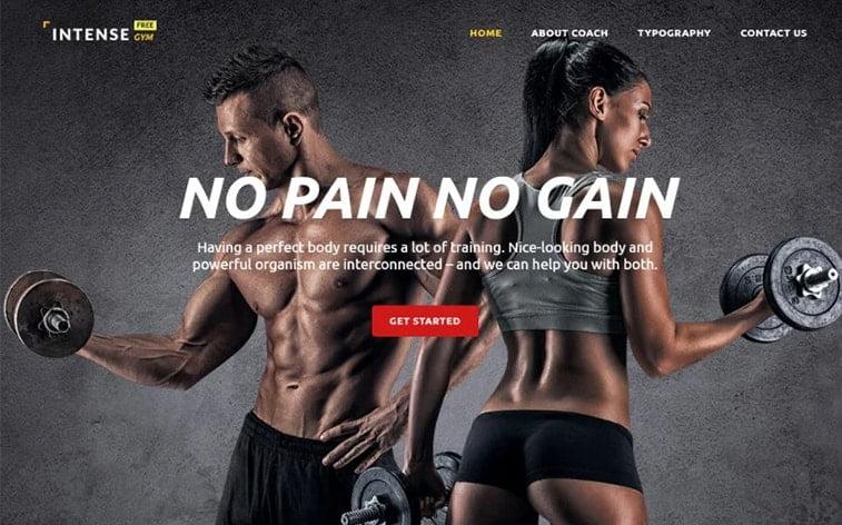 best free botstrap theme template website training gym coach