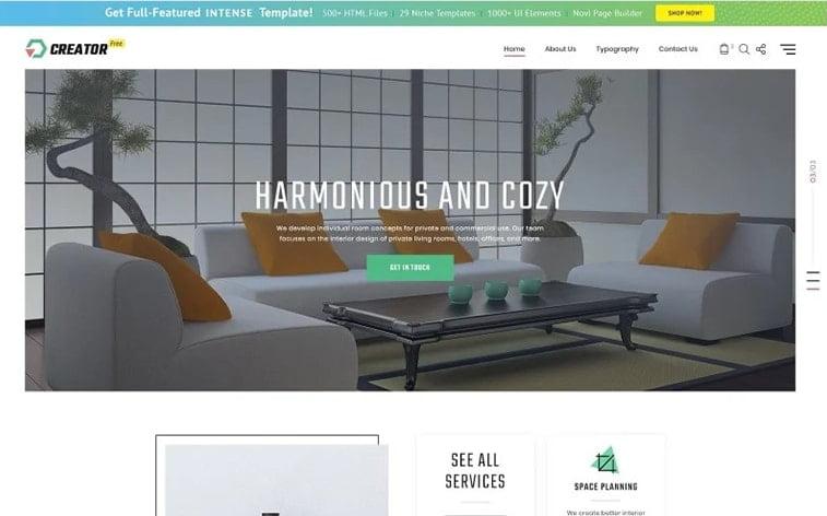 best free botstrap theme template website interior design studio agency