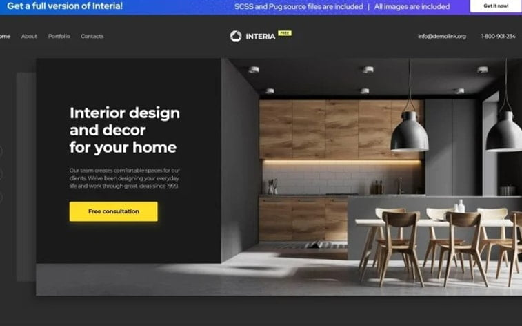 best free botstrap theme template website interior design home agency