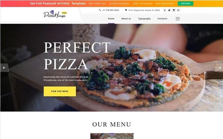 best free botstrap theme template website pizza house restaurant