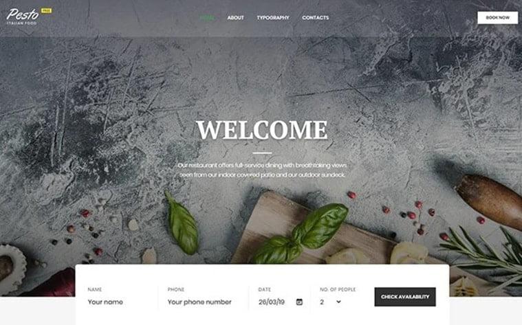 best free botstrap theme template website restaurnt cafe food