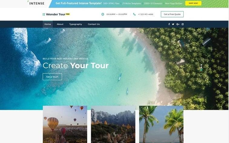 best free botstrap theme template website travel agency blog