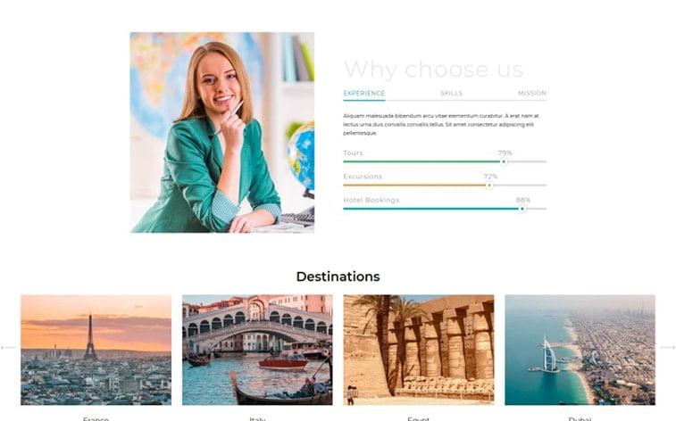 best free botstrap theme template website travel blogger influencer agency trip
