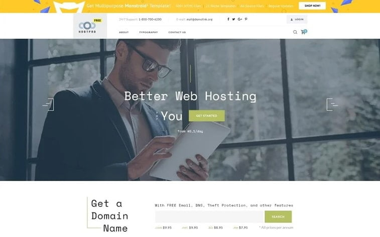 best free botstrap theme template website it industry hosting company