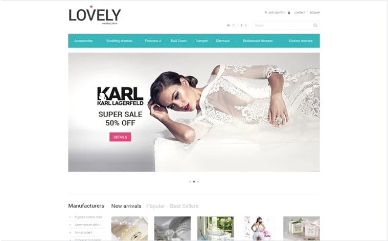 best free botstrap theme template website wedding bridal dress accessories