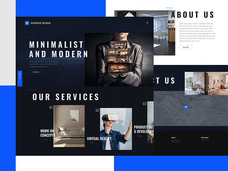 ui ux design trends 2021 dark mode architecture real estate website interface