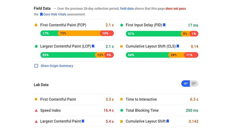 cumulative layout shift cls pagespeed insight