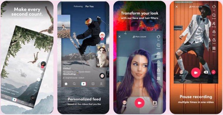 tiktok ui app screens