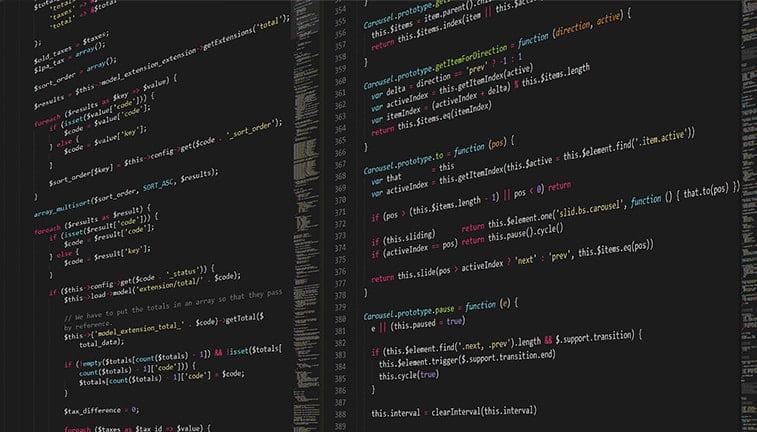 website code on a screen