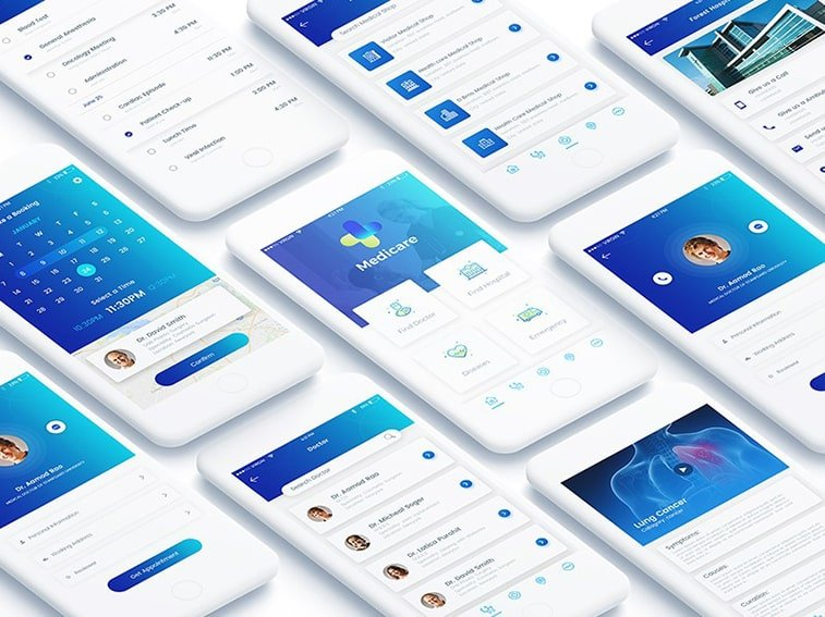 healthcare medical app concept ui ux design mobile