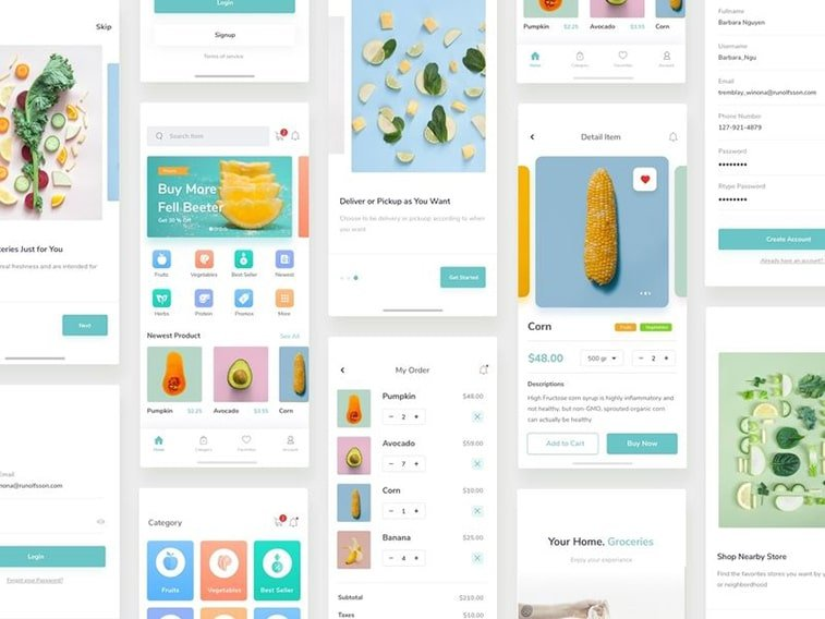 grocery app shopping online ui kit