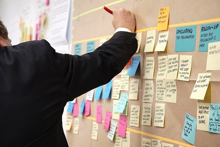 man writing on sticky notes on a board