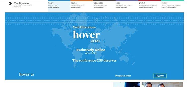 web development hover