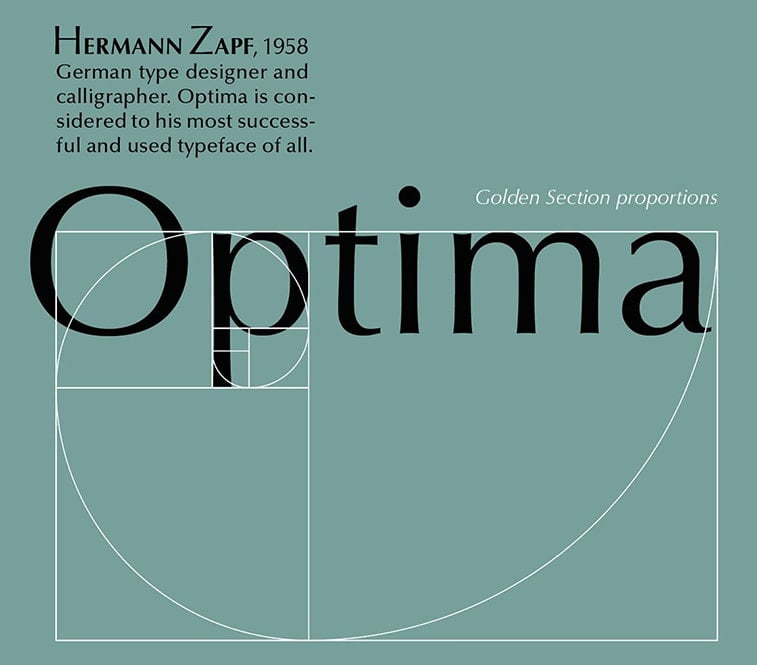 optima font characteristics golden ratio