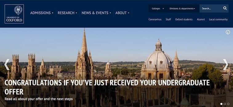 oxford university website homepage