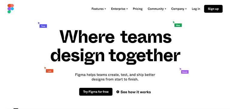 figma design app homepage