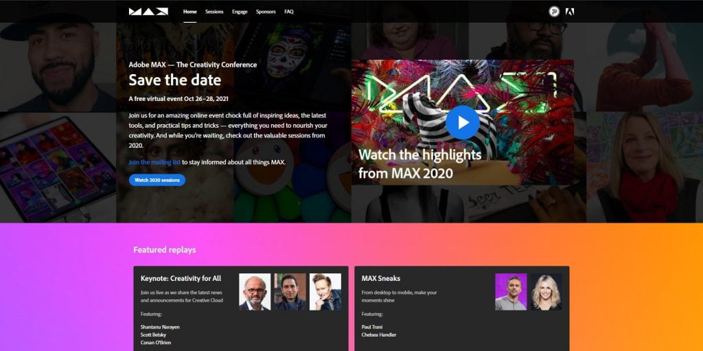 web design events 2021 adobemax