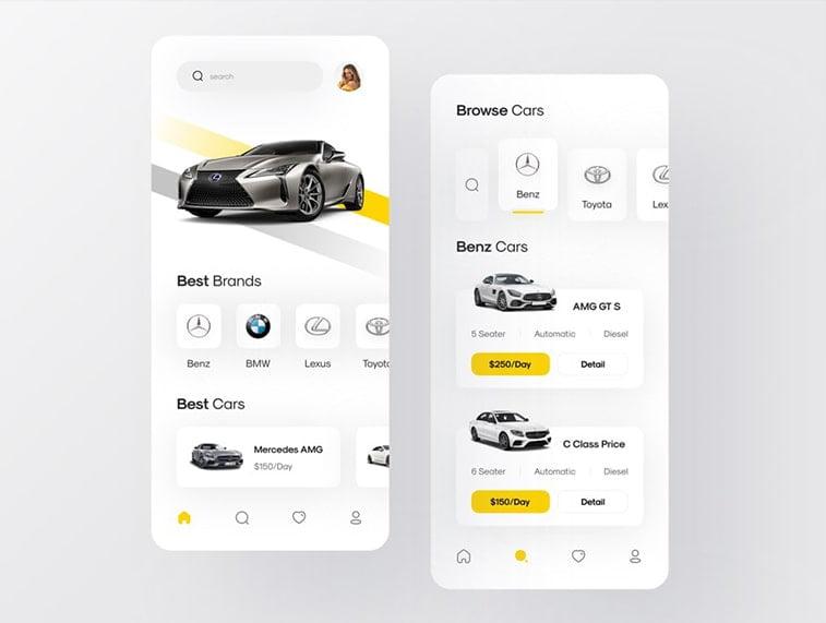 rent-a-car app design