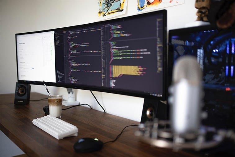 screen with coding development