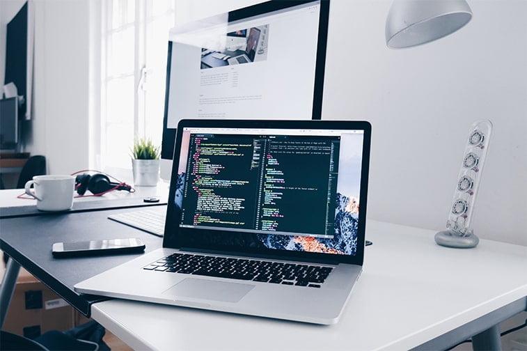 coding development on a laptop screen