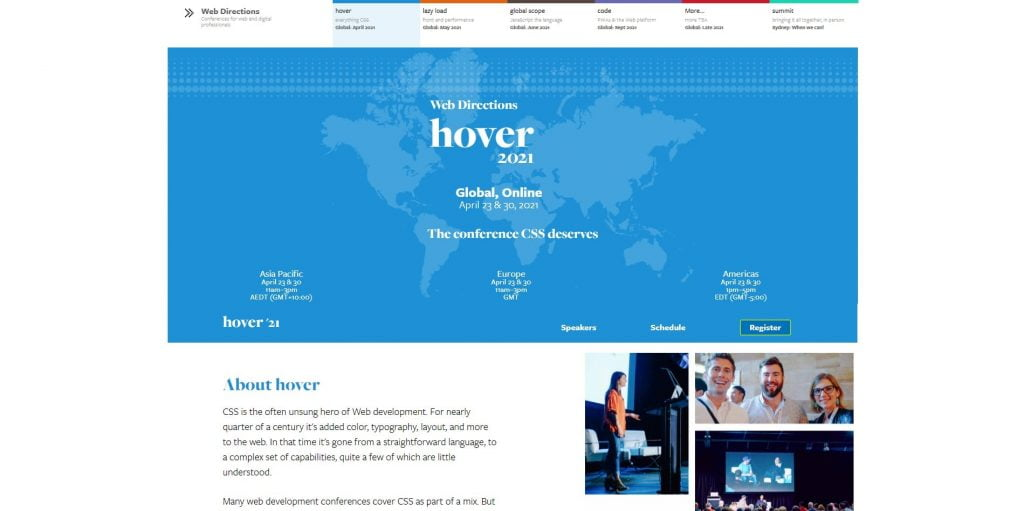 web design events 2021 hover