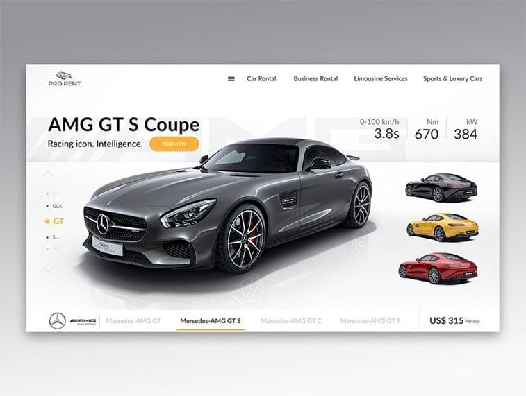 rent-a-car website design idea