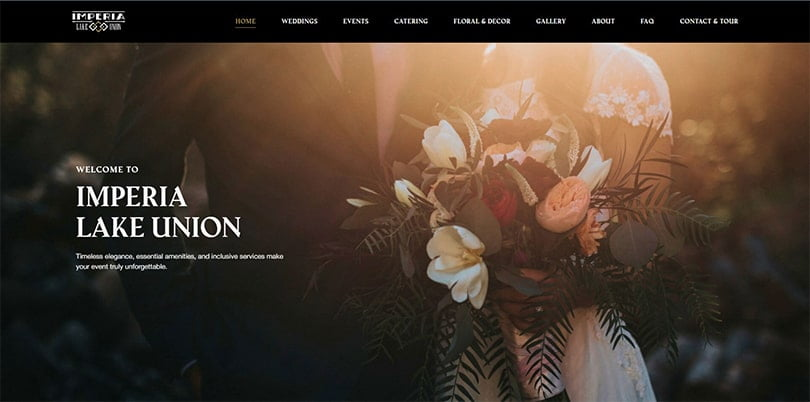 wedding website homepage catering